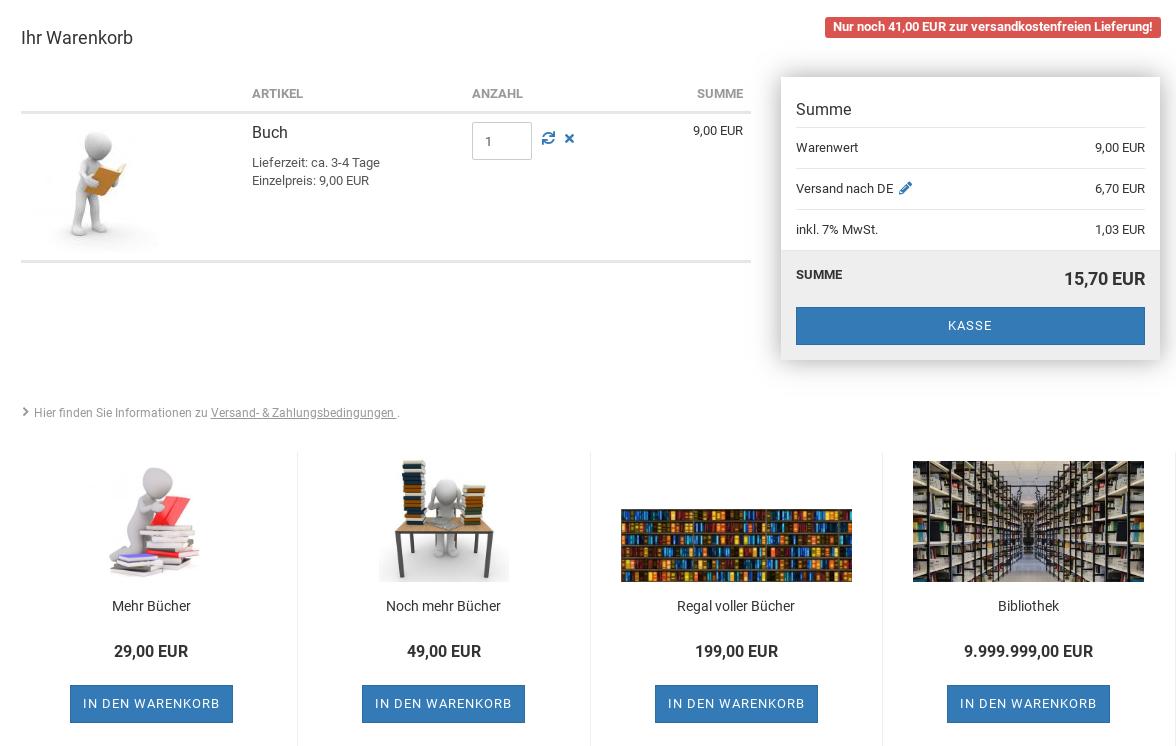 Screenshot Gambio-Warenkorb mit 4 Produktkacheln unterhalb des Warenkorbs