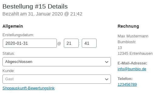 Bestellung #15 Details, Bezahlt am 31. Januar 2020 @ 21:42, Status: abgeschlossen, Kunde: Gast, Shopauskunft-Bewertungslink