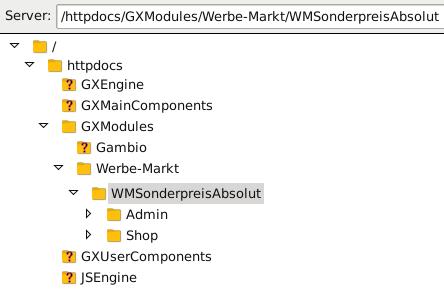 Verzeichnisbaum /httpdocs/GXModules/Werbe-Markt/WMSonderpreisAbsolut in FileZilla