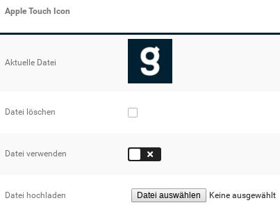Apple Touch Icon: Anzeige Aktuelle Datei, Option Datei löschen, Option Datei verwenden, Durchsuchen-Feld Datei hochladen