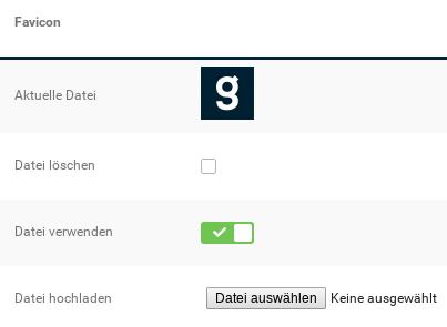 Favicon: Anzeige Aktuelle Datei, Option Datei löschen, Option Datei verwenden, Durchsuchen-Feld Datei hochladen