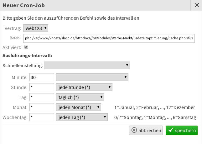 Modal Neuer Cron-Job mit Formularfeldern für Vertrag, Befehl und Ausführungs-Intervall