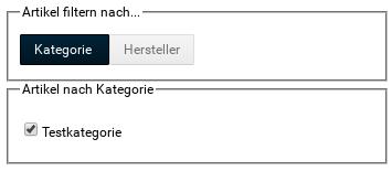 Artikel filtern nach... Kategorie: Artikel nach Kategorie: Testkategorie ausgewählt