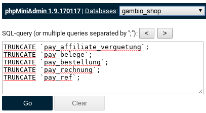 phpMiniAdmin 1.9.170117 mit Eingabefeld und SQL-Befehlen