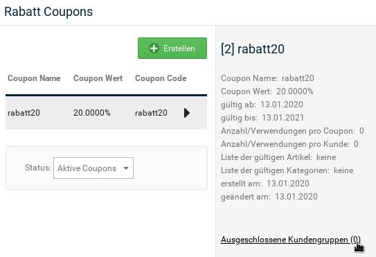 Rabatt Coupons: rabatt20, Mauszeiger auf Link Ausgeschlossene Kundengruppen