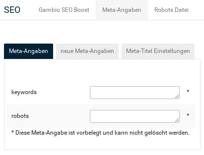 Aktivierter Reiter Gambio Meta-Angaben: Leere Eingabefelder für keywords und robots