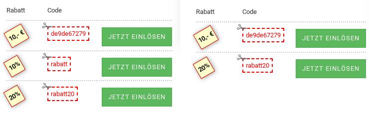 Link einlösbare Rabattgutscheine 10 €, 10%, 20%, rechts nur 10 € und 20%