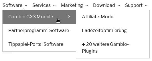 Software, Services, Marketing, Download, Support. Software aufgeklappt, Mauszeiger auf Gambio GX3 Module, wiederum aufgeklappt: Affiliate-Modul Ladezeitoptimierung ➕ 20 weitere Gambio-Plugins