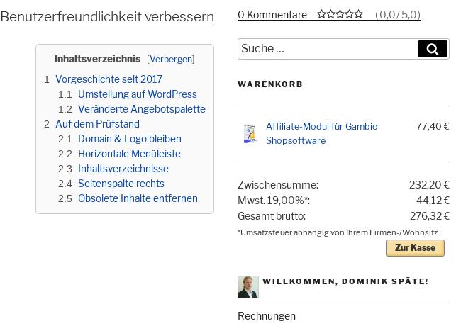 Teil der Überschrift und Inhaltsverzeichnis links, 0 Kommentare, Suchefeld, Warenkorb und User-Menü rechts in der Seitenspalte