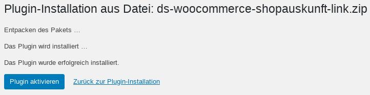 Plugin-Installation aus Datei: ds-woocommerce-shopauskunft-link.zip