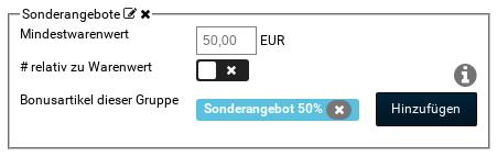 Bonusartikelgruppe Sonderangebote: Mindestwarenwert: 50,00 EUR, Bonusartikel dieser Gruppe: Sonderangebot 50%