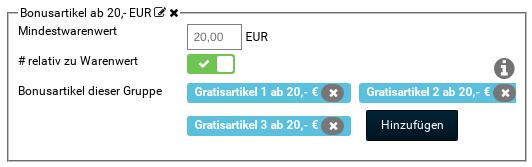 Bonusartikel dieser Gruppe: Gratisartikel 1 ab 20,- € Gratisartikel 2 ab 20,- € Gratisartikel 3 ab 20,- €