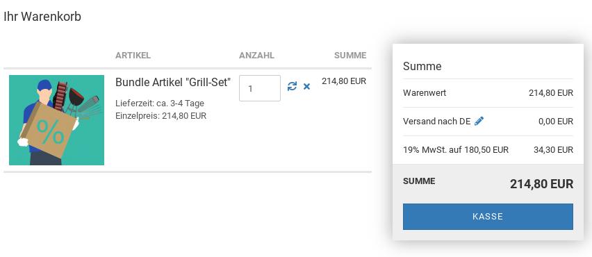 "Ihr Warenkorb: Bundle Artikel ""Grill-Set"", 214,80 EUR"