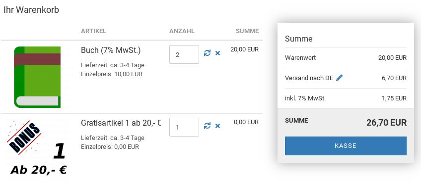 Ihr Warenkorb: 2x Buch für 20,- EUR, 1x Gratisartikel 1 ab 20,- € für 0,00 EUR