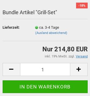 """Preisbox Bundle Artikel """"Grill-Set"""" mit Sonderpreis-Ribbon und Warenkorb-Button"""