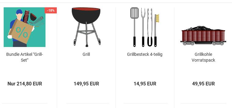 "Bundle Artikel ""Grill-Set"" mit Sonderpreis-Ribbon -18%"