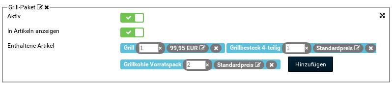Grill-Paket, Aktiv: ja, In Artikeln anzeigen: ja, Enthaltene Artikel: Grill 1× 99,95 EUR, Grillbesteck 4-teilig 1× Standardpreis, Grillkohle Vorratspack 2× Standardpreis