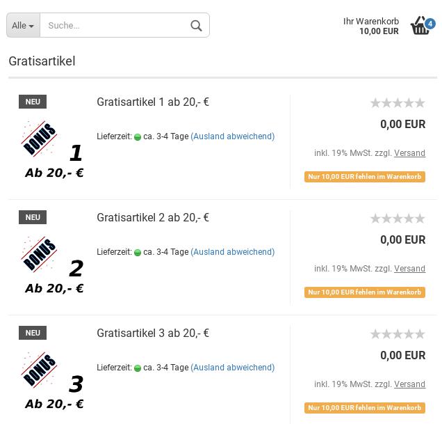 Kategorie Gratisartikel mit 3 Produkten für 0,00 EUR. Statt Warenkorb-Button Hinweistext: Nur 10,00 EUR fehlen im Warenkorb