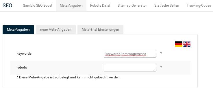 SEO > Meta-Angaben > keywords: keywords,kommagetrennt