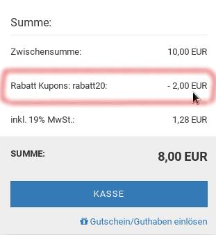 Gambio Warenkorb mit Zeile: Rabatt Kupons: rabatt20: -2,00 EUR