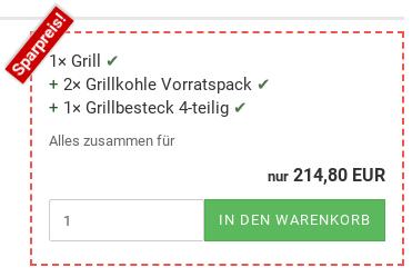 Sparpreis: 1× Grill, 2× Grillkohle Vorratspack, 1× Grillbesteck 4-teilig, Alles zusammen für nur 214,80 EUR 1× in den Warenkorb