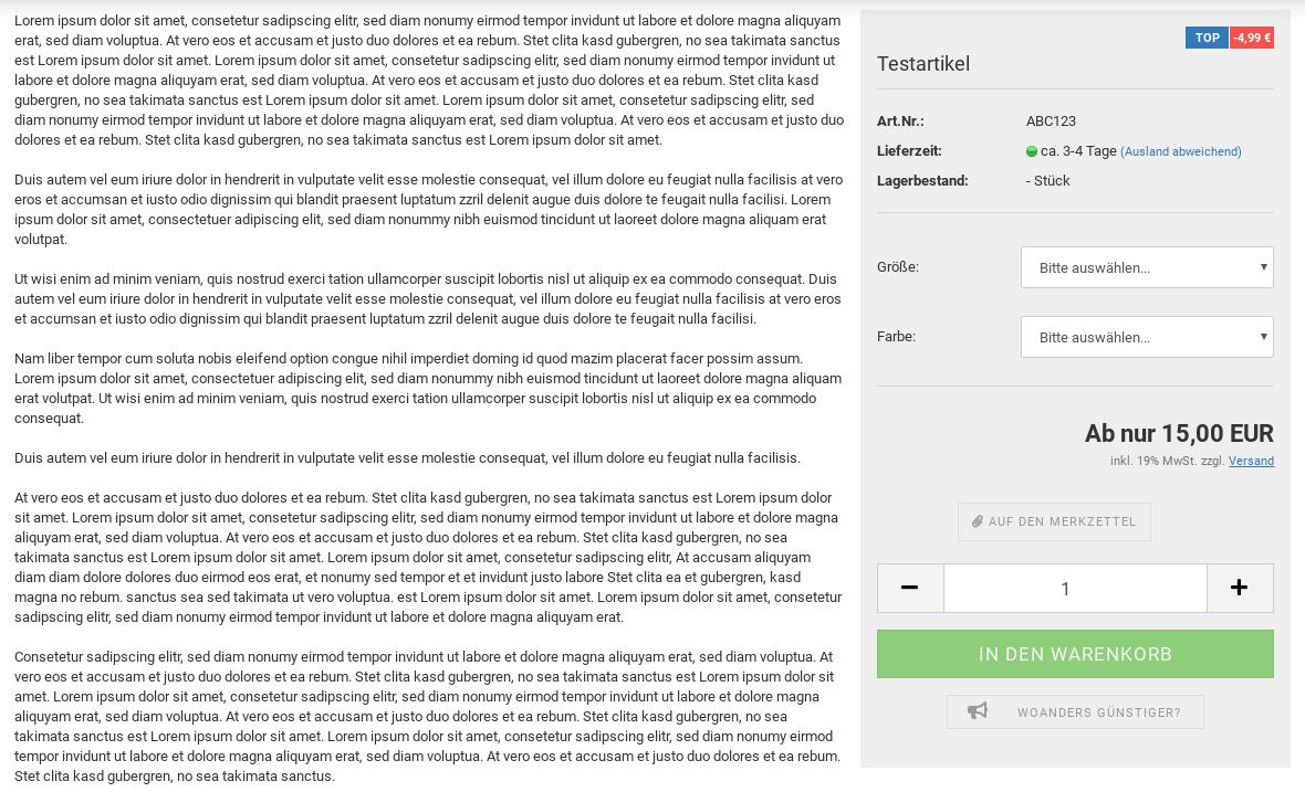 Lorem ipsum Text als Artikelbeschreibung, rechts die fixierte Preisbox