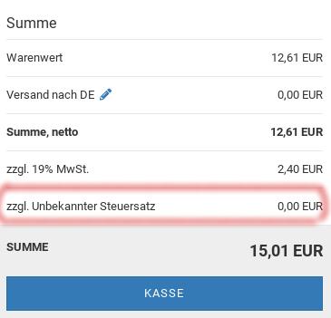 """Gambio Warenkorb mit Zeile """"zzgl. Unbekannter Steuersatz 0,00 EUR"""""""
