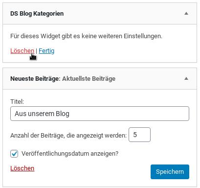 DS Blog Kategorien löschen, Titel: Aus unserem Blog Anzahl der Beiträge, die angezeigt werden: 5 Veröffentlichungsdatum anzeigen?