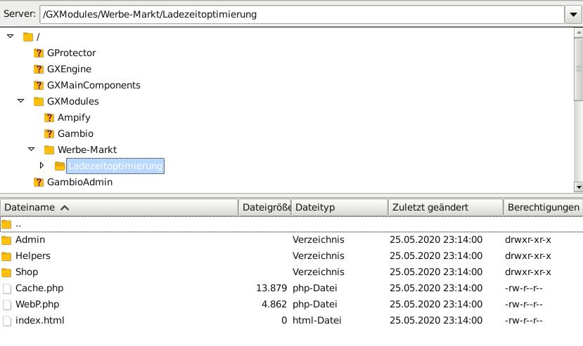 Verzeichnis /GXModules/Werbe-Markt/Ladezeitoptimierung in FileZilla