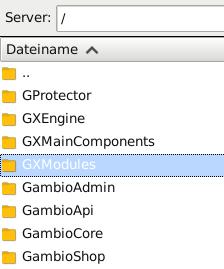 Verzeichnis GXModules in FileZilla