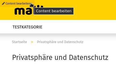 """Privatsphäre und Datenschutz - Mauszeiger auf Link """"Content bearbeiten"""""""