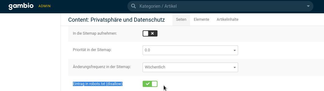 Content: Privatsphäre und Datenschutz- Eintrag in robots.txt (disallow): ja