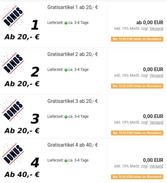 Auflistung Gratisartikel mit Hinweis: Nur 10,00 EUR fehlen im Warenkorb