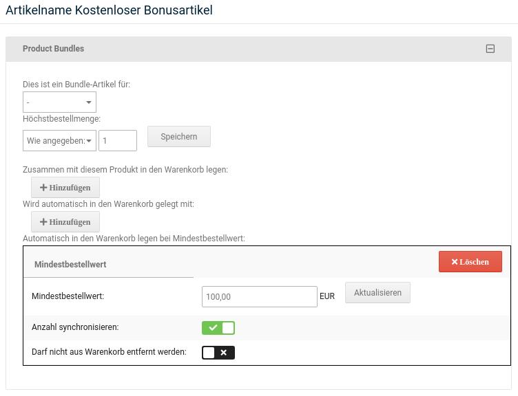 Artikelname Kostenloser Bonusartikel, Automatisch in den Warenkorb legen bei Mindestbestellwert: 100,00 EUR