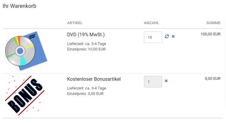 Ihr Warenkorb: DVD (19% MwSt.) 10× 100,00 EUR, Kostenloser Bonusartikel 1× 0,00 EUR