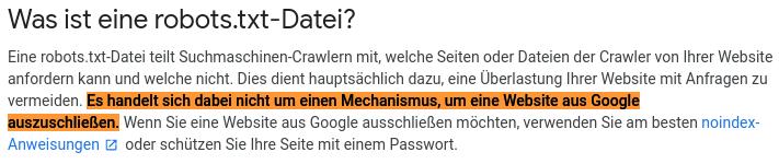 Was ist eine robots.txt-Datei? Es handelt sich dabei nicht um einen Mechanismus, um eine Website aus Google auszuschließen.