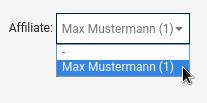 Affiliate: Auswahlfeld mit Mauszeiger auf Option Max Mustermann