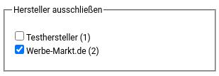 Hersteller ausschließen: Testhersteller und Werbe-Markt.de jeweils mit vorangestelltem Kontrollkästchen, bei letztgenannter Option aktiviert