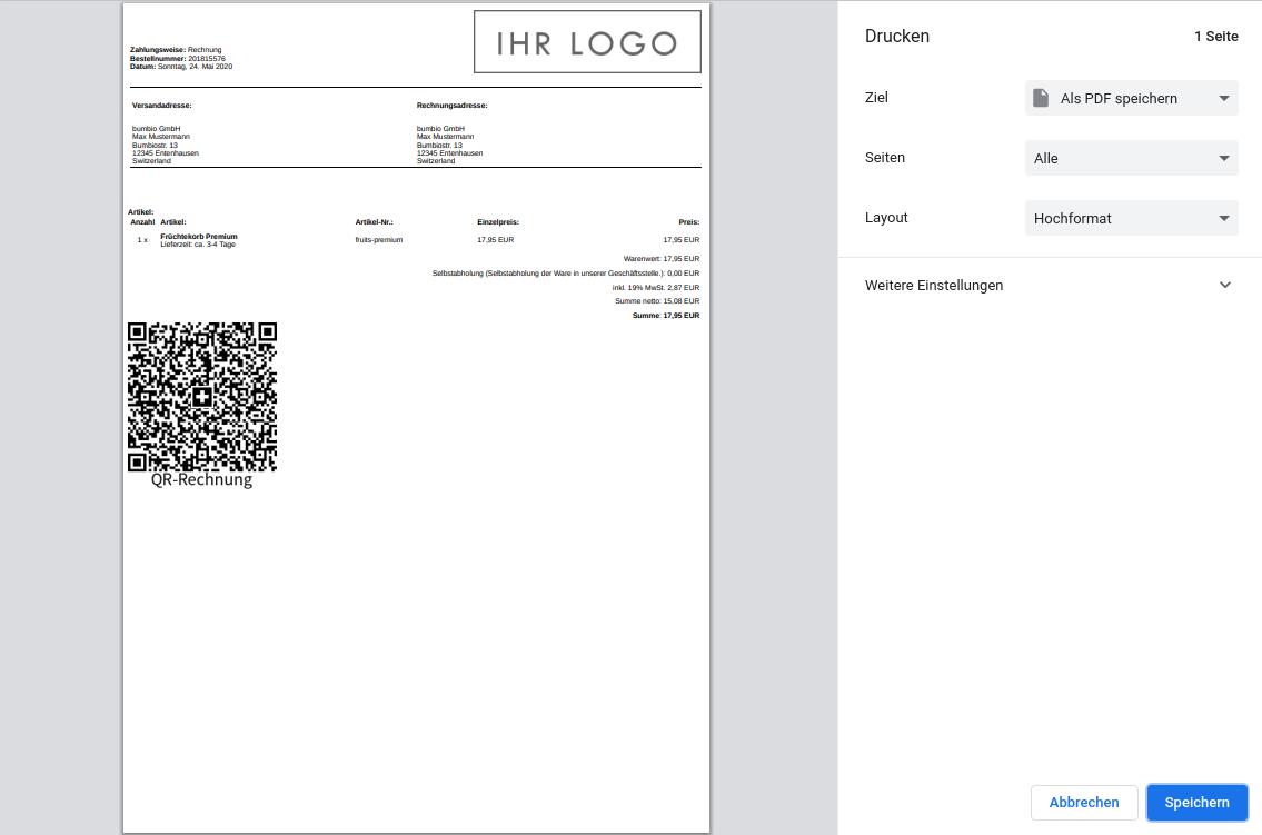 Druckvorschau im Browser mit QR-Code in den Bestelldetails