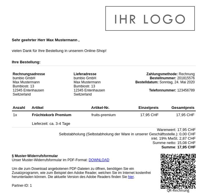 E-Mail: Sehr geehrter Herr Max Mustermann , vielen Dank für Ihre Bestellung in unserem Online-Shop! Ihre Bestellung... unten rechts QR-Code