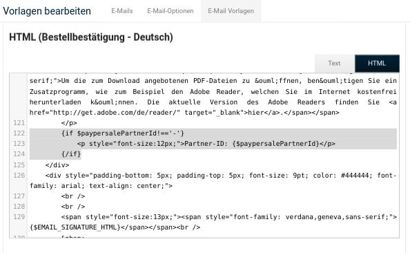 HTML (Bestellbestätigung - Deutsch) mit {if $paypersalePartnerId!=='-'} im Eingabefeld