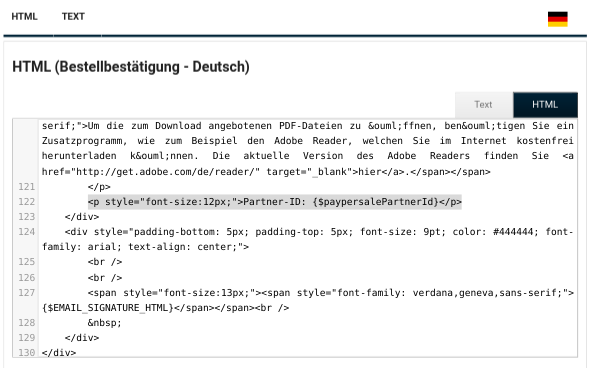 HTML (Bestellbestätigung - Deutsch) mit HTML-Code im Texteingabefeld