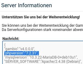 """Server Informationen: """"gambio"""":""""v4.0.0.0"""", """"phpversion"""":""""7.2.31"""","""