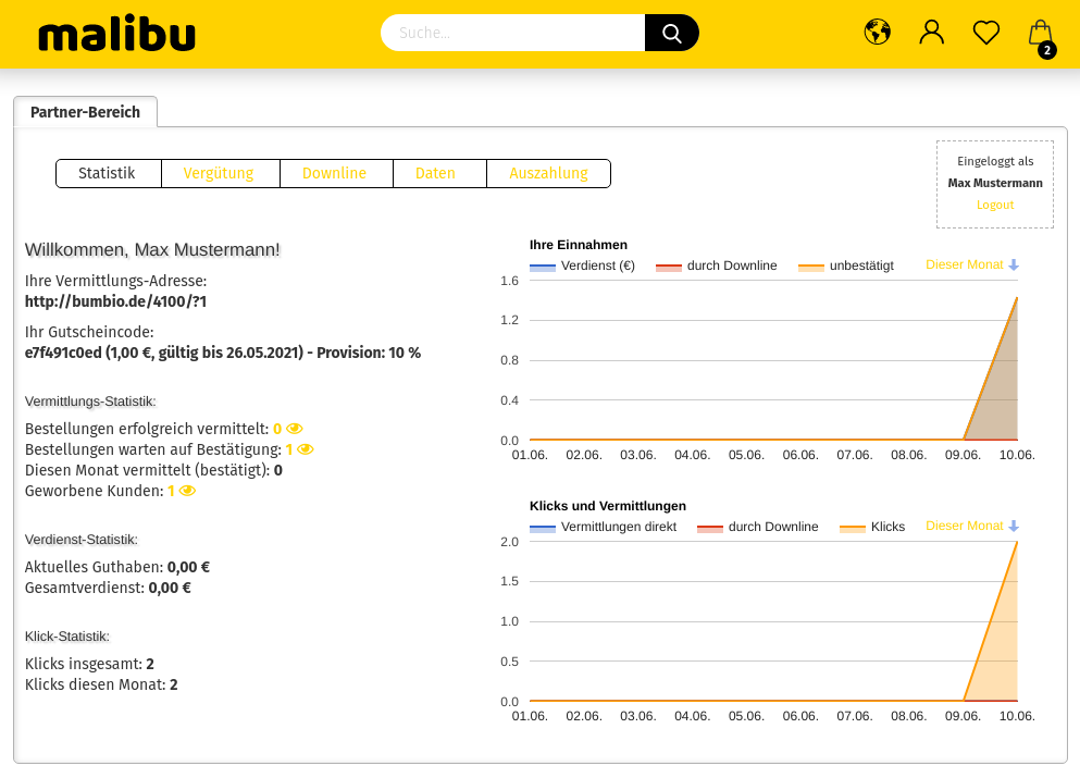 Screenshot Partnerbereich von Affiliate Max Mustermann im Malibu-Theme