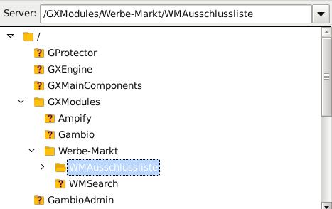 Verzeichnis /GXModules/Werbe-Markt/WMAusschlussliste in FileZilla