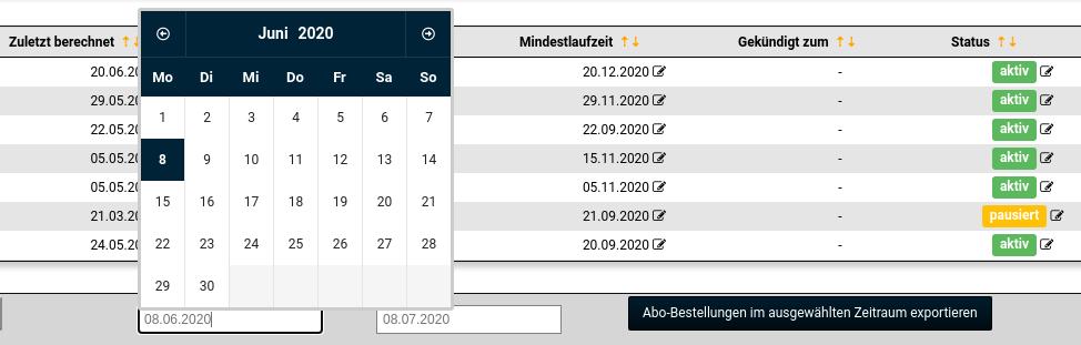 Kalender und Button: Abo-Bestellungen im ausgewählten Zeitraum exportieren
