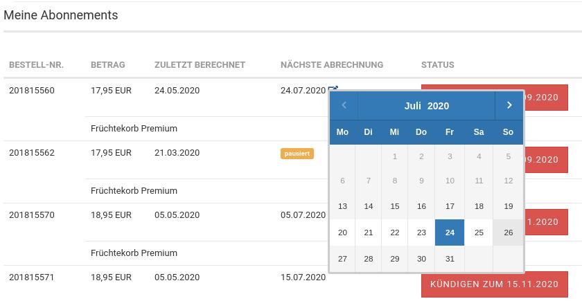 Meine Abonnements, Datum nächster Abrechnung Datepicker (Kalender) für Juli 2020