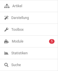 Menübox: Artikel Darstellung Toolbox Module (5) Statistiken Suche