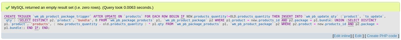 MySQL returned an empty result set (i.e. zero rows). (Query took 0.0063 seconds.)