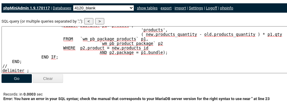 SQL-Befehl und Fehlermeldung Error: You have an error in your SQL syntax; check the manual that corresponds to your MariaDB server version for the right syntax to use near '' at line 23